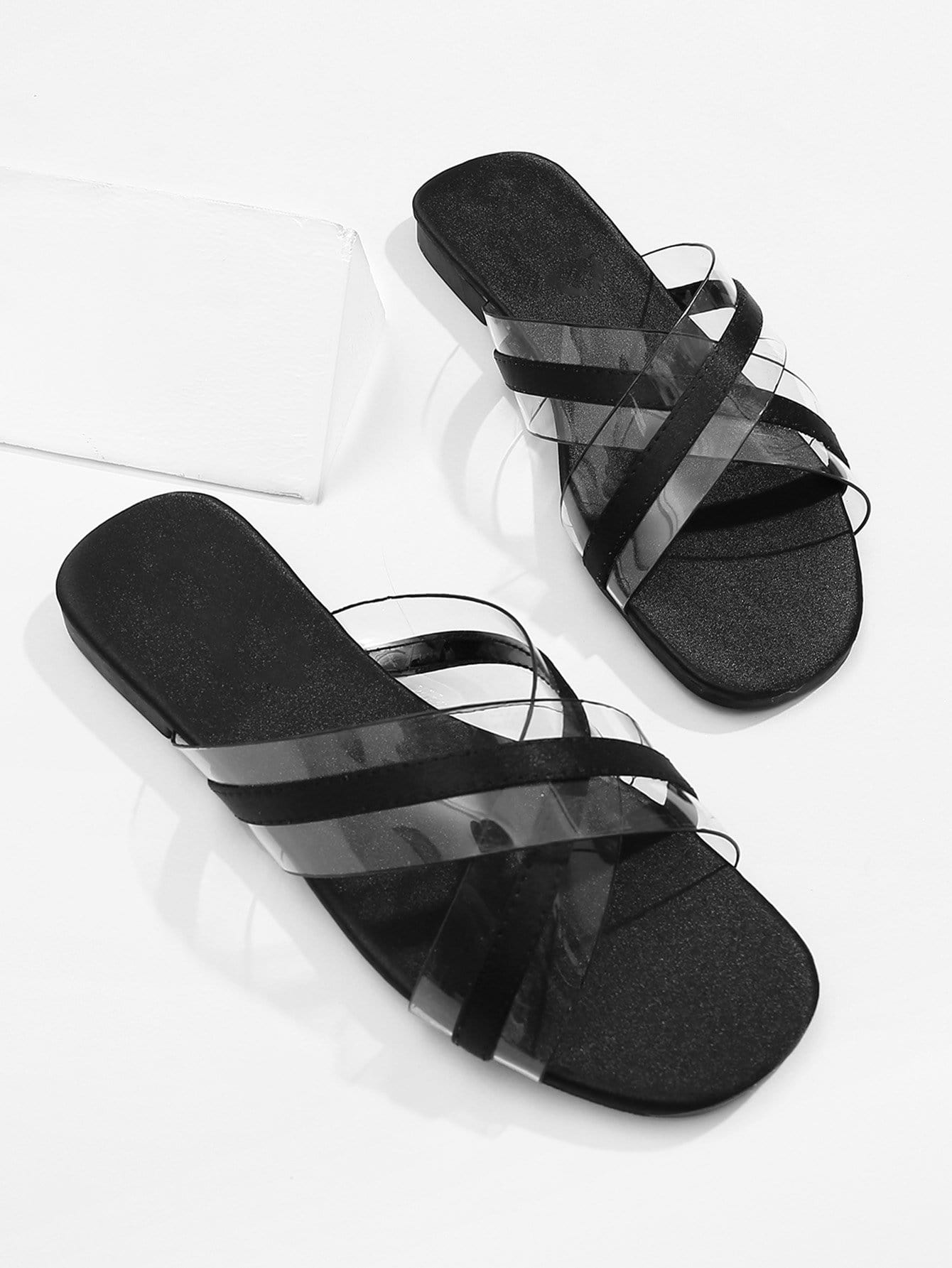 Piping Detail Criss Cross Flat Slippers contrast piping criss cross teddy