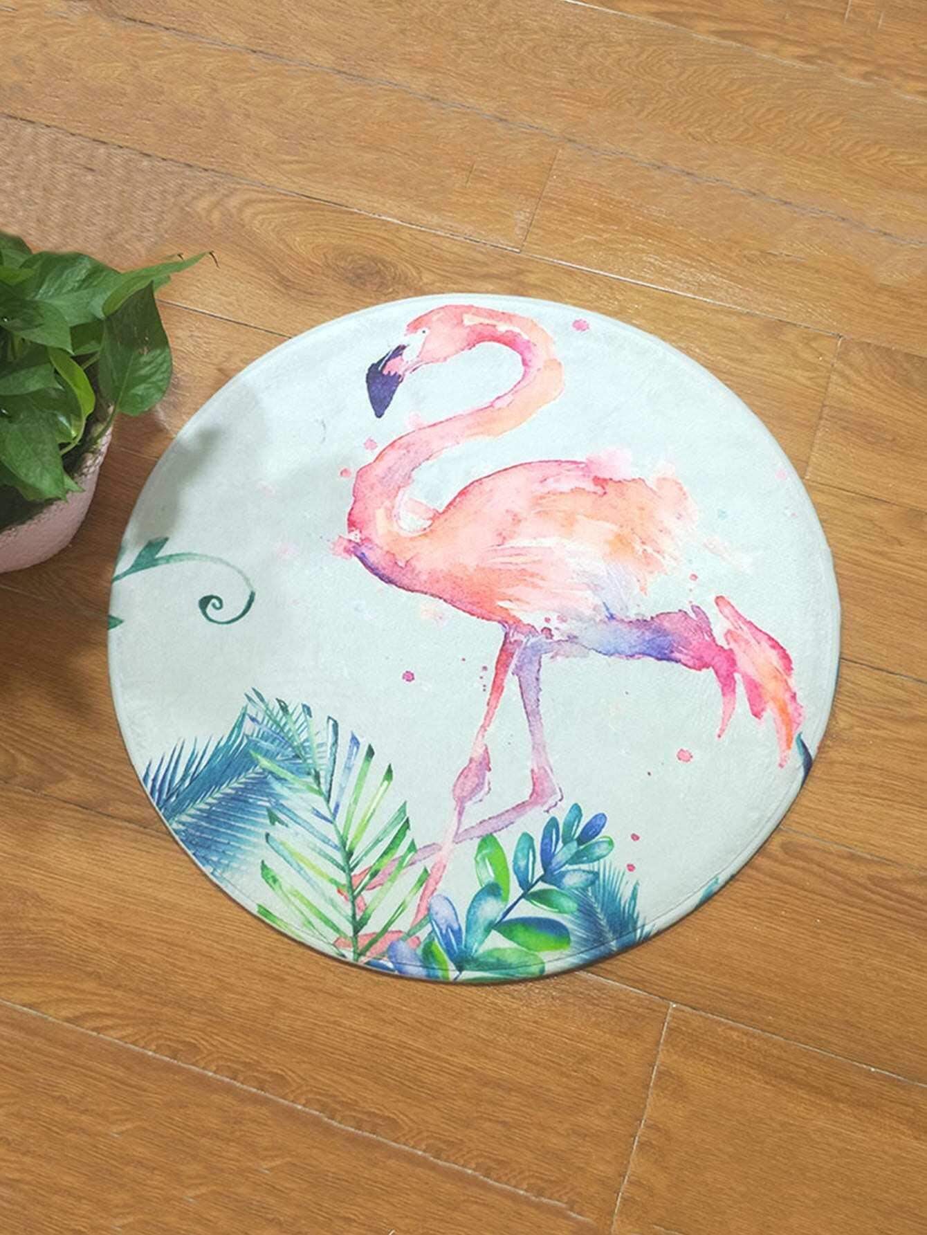 Купить Акварель Flamingos Печать Круглый ковер, null, SheIn