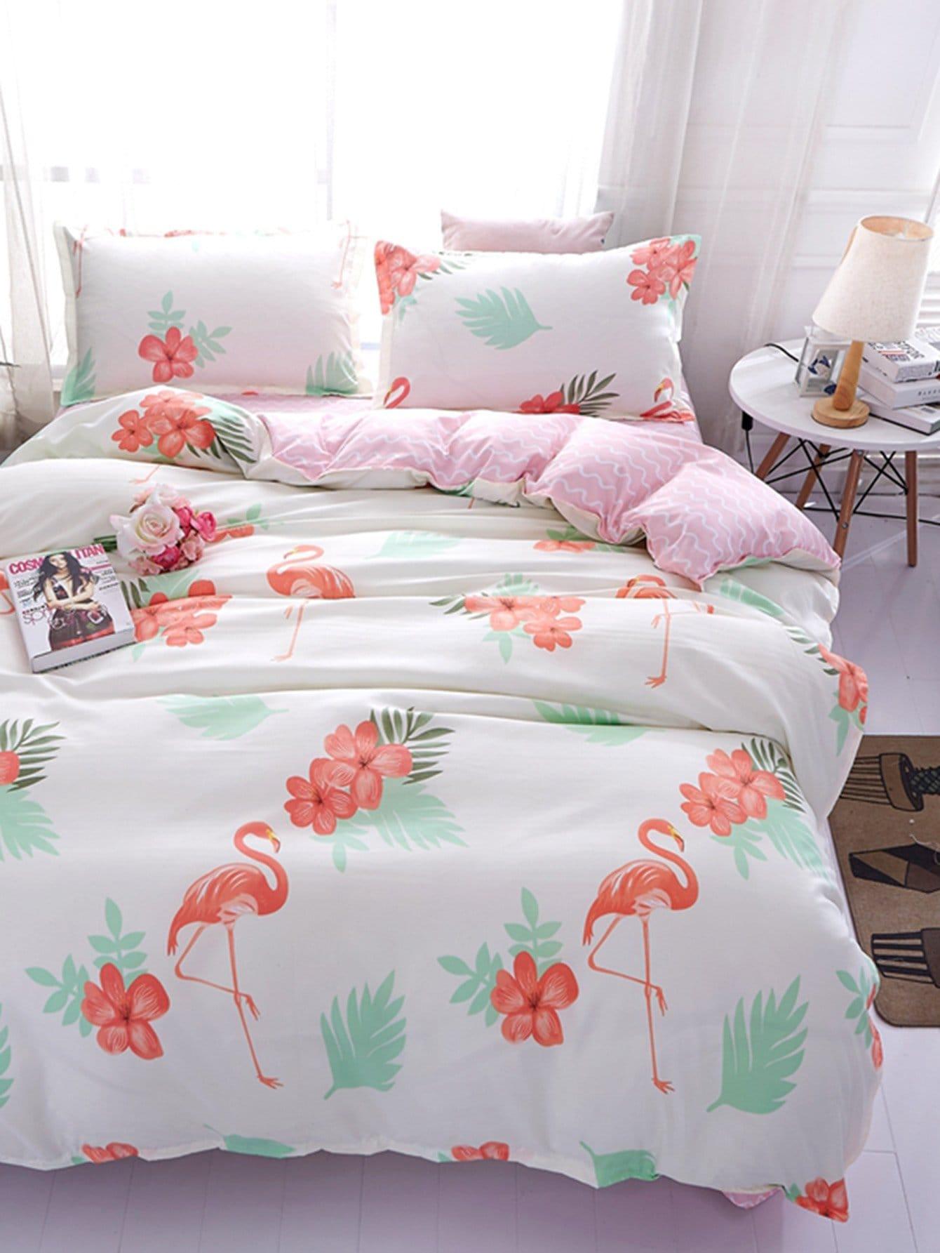 Купить Набор печатных листов Flamingos & Chervon, null, SheIn
