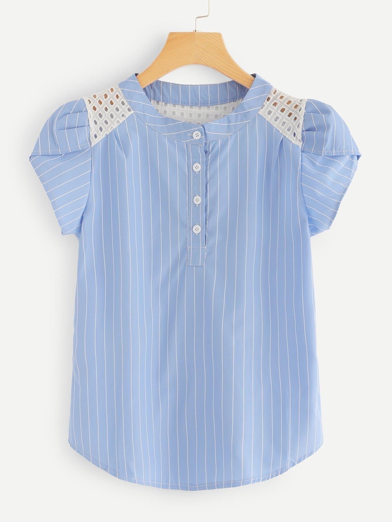 Petal Sleeve Striped Blouse petal sleeve self tie blouse