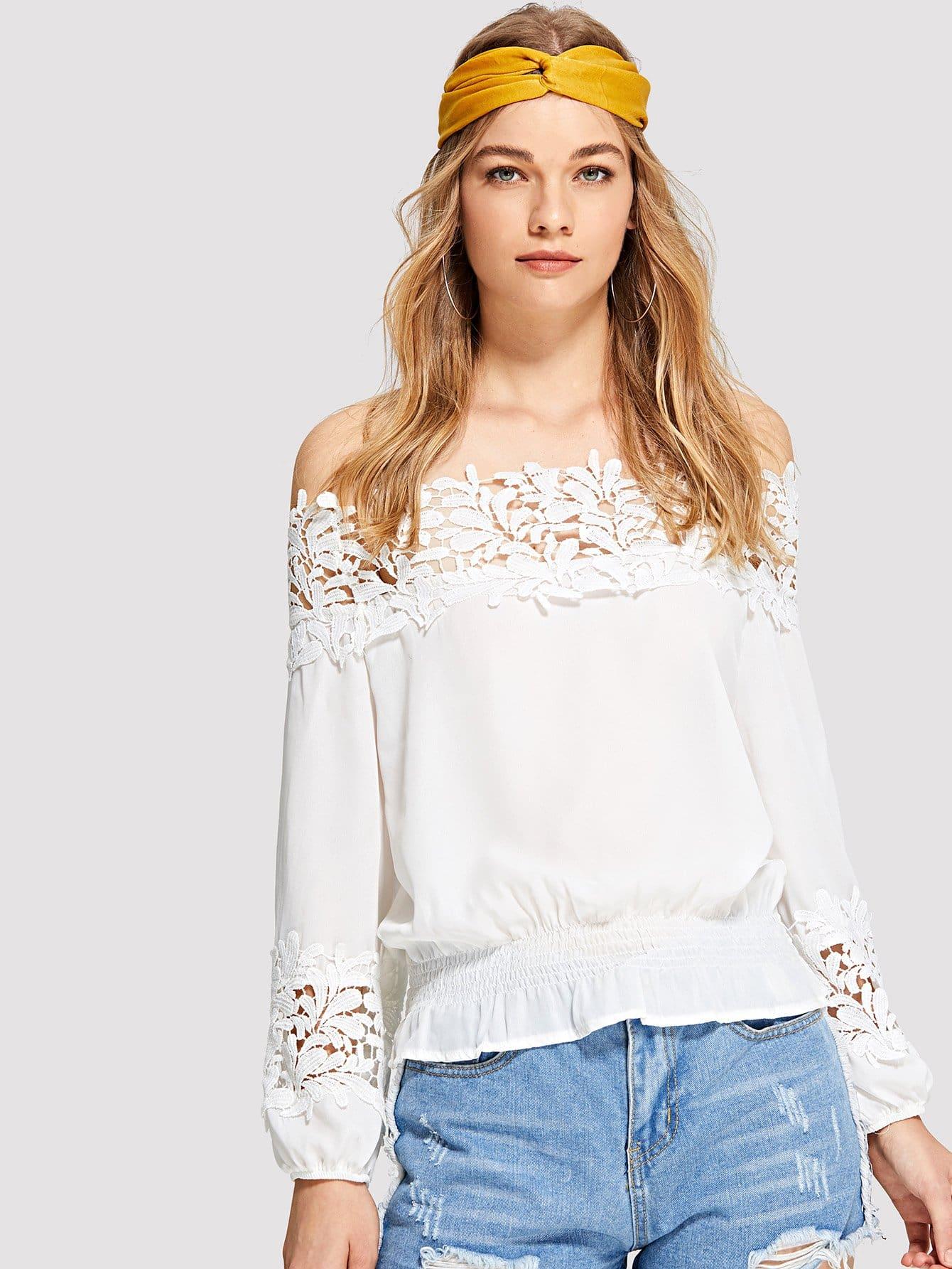 Contrast Lace Off Shoulder Blouse lace crochet contrast off shoulder stripe blouse