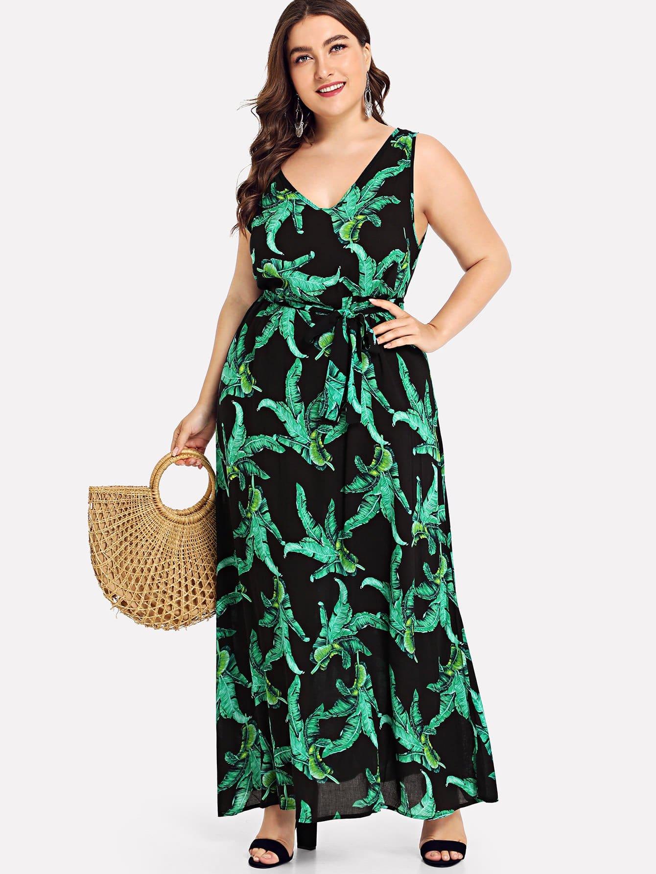 Купить Платье с длинными линиями из тропической печати, Franziska, SheIn