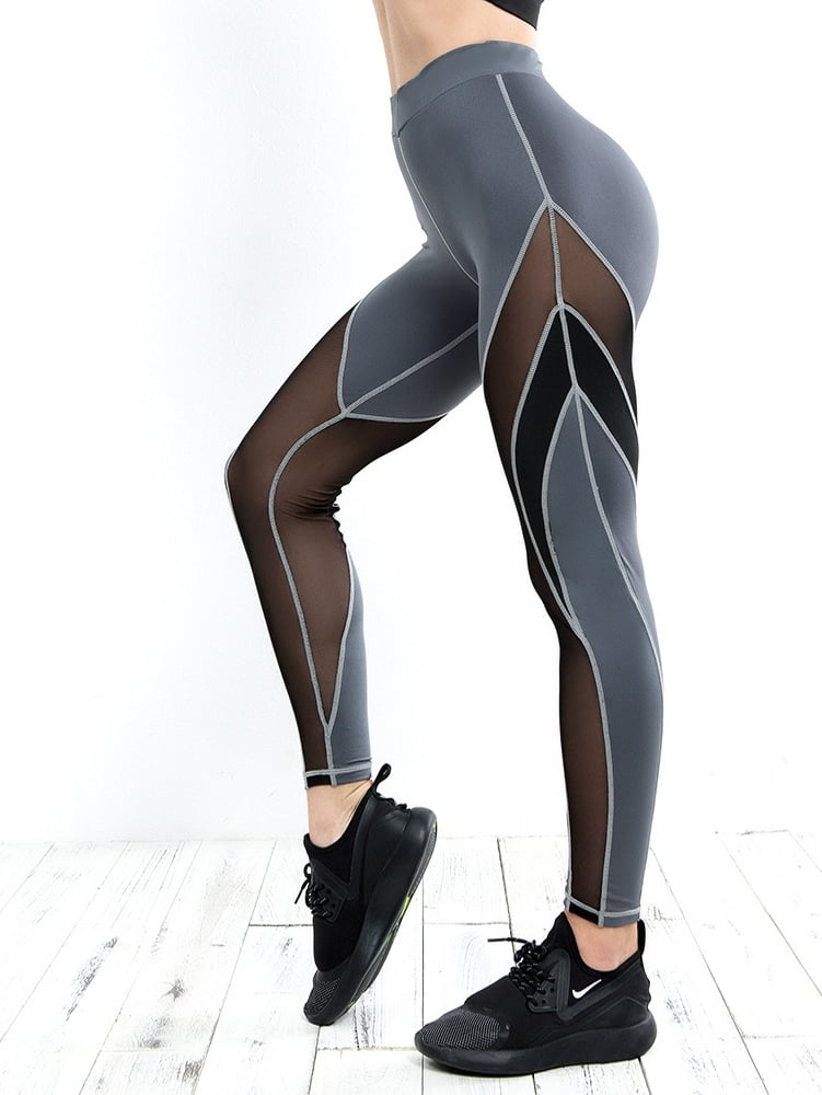 Contrast Mesh Sporty Leggings storm 47236 bk