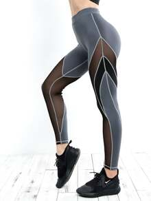 Contrast Mesh Sporty Leggings