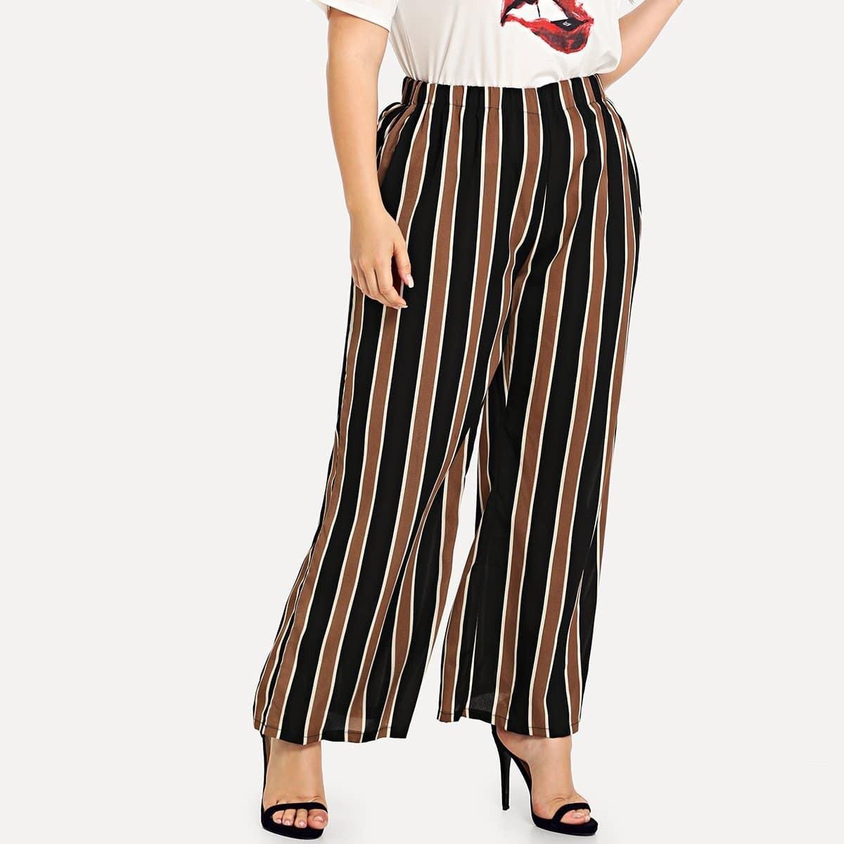 Striped Wide Leg Pants work style striped women s wide leg ninth pants