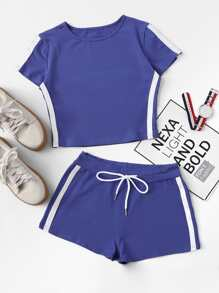 Color Block Tee With Drawstring Waist Shorts