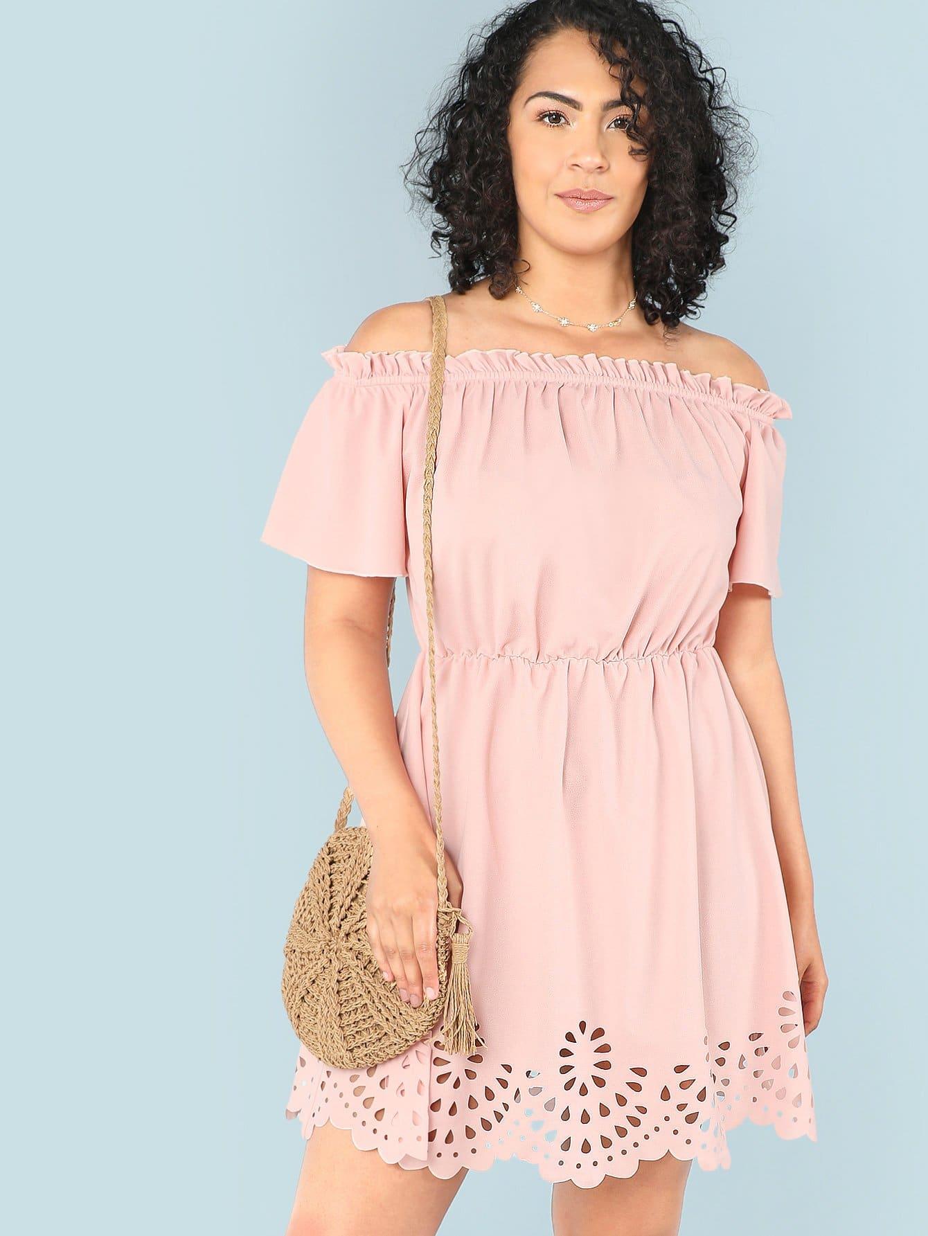 Купить Лазерная резка Платиновое платье из бардо, Brianna Ruiz, SheIn