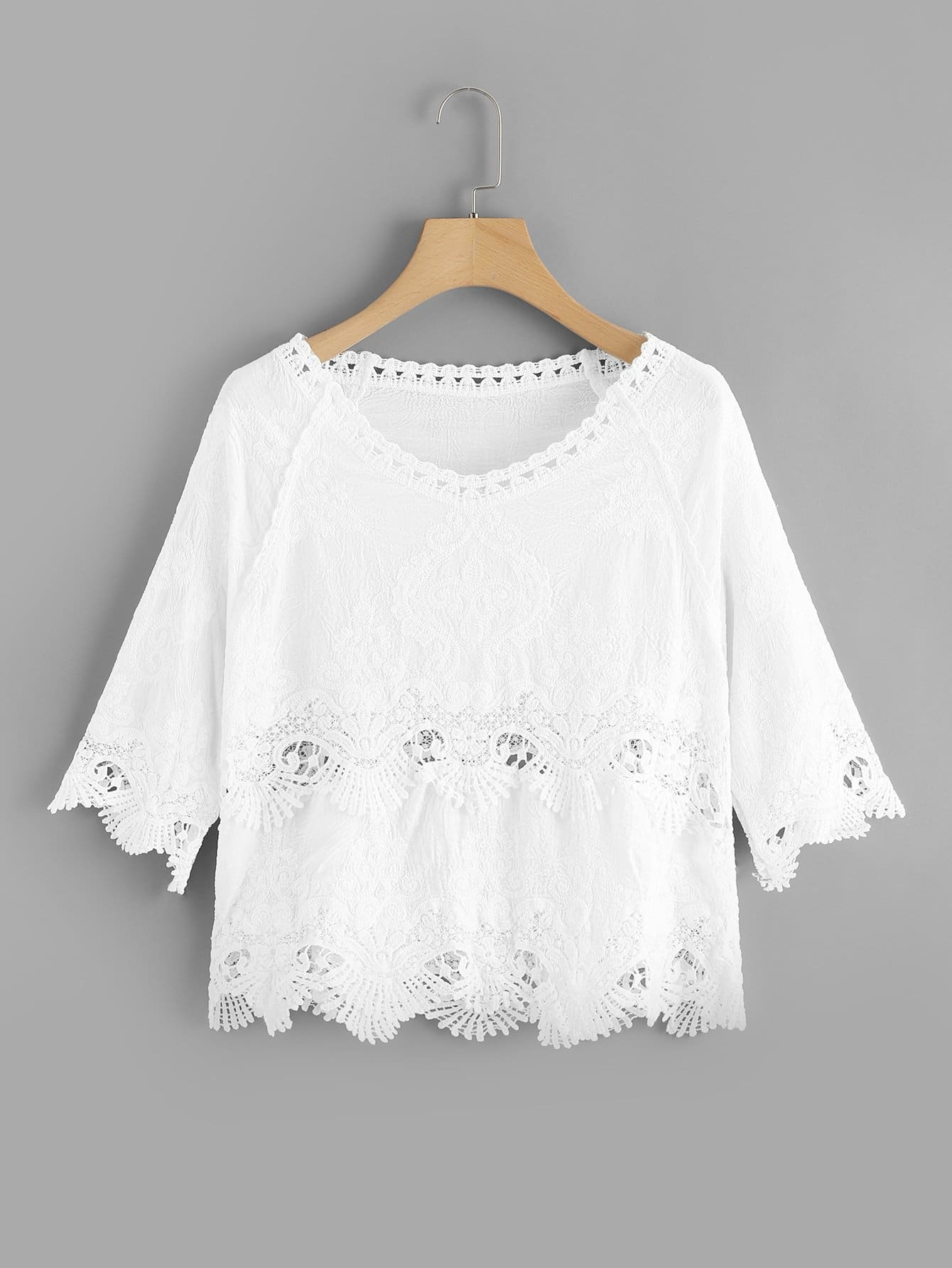 Hollow Out Crochet Panel Top hollow out crochet panel blouse