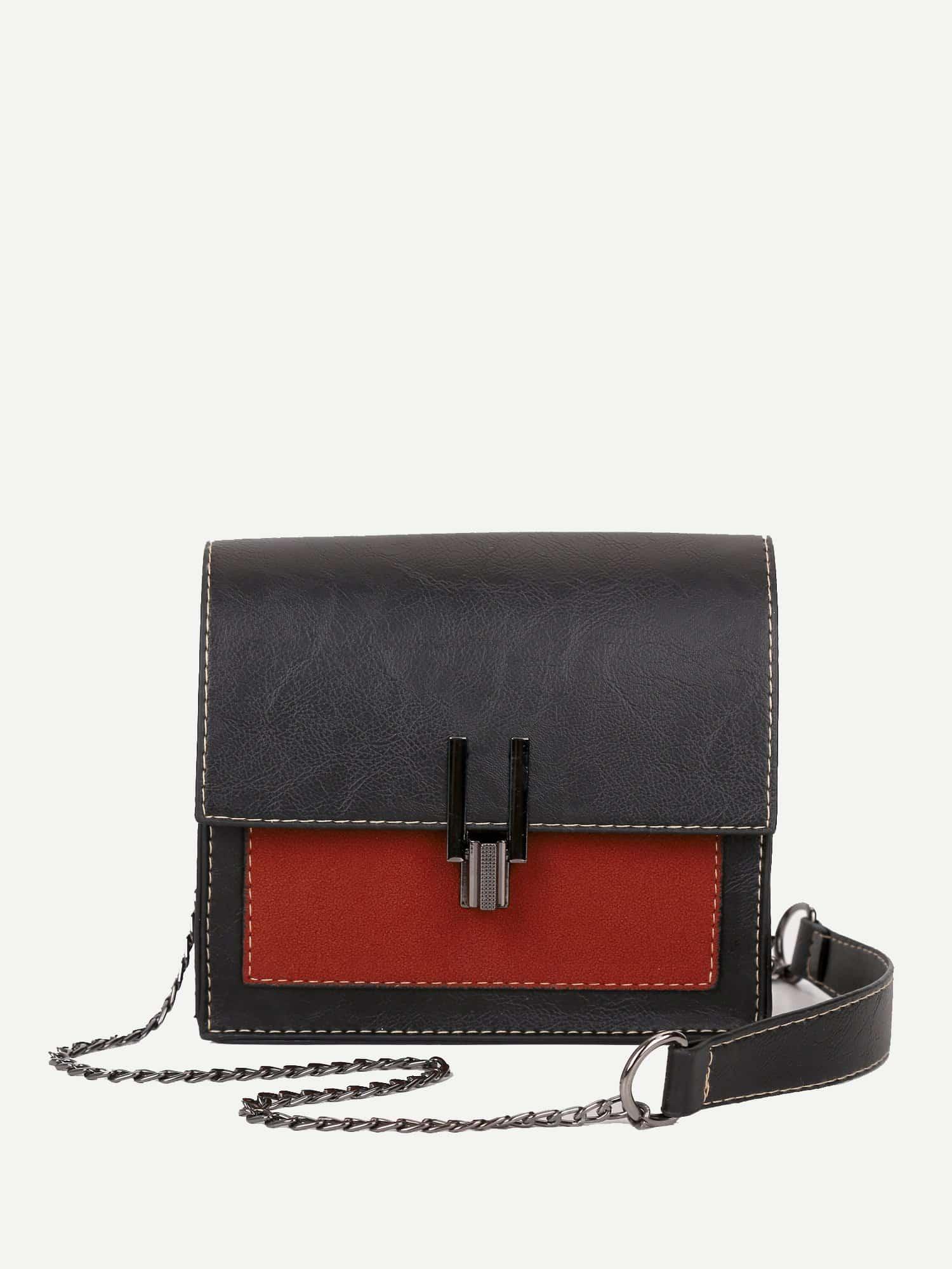 Two Tone Detail Chain Bag two tone detail buckle chain bag