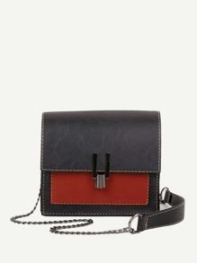 Two Tone Detail Chain Bag