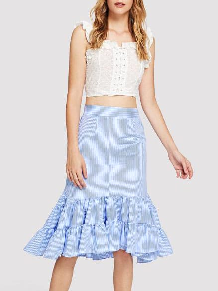 Ruffle Hem Striped Skirt striped ruffle hem overlap skirt