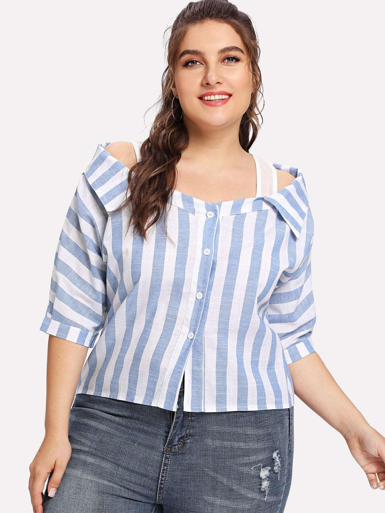 Plus Striped Cold Shoulder Button Blouse
