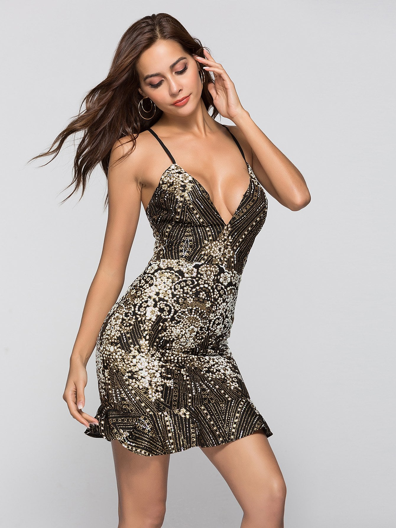Купить Rhinestone Drawstring Back Ruffle Hem Dress, Juliana, SheIn