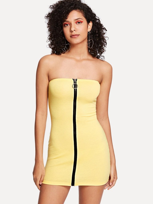 Zip Strapless Dress by Sheinside