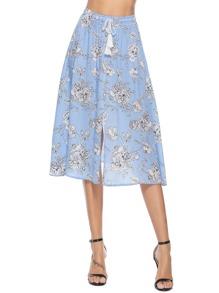 Floral Print Drawstring Waist Skirt