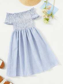 Frill Shirred Striped Dress