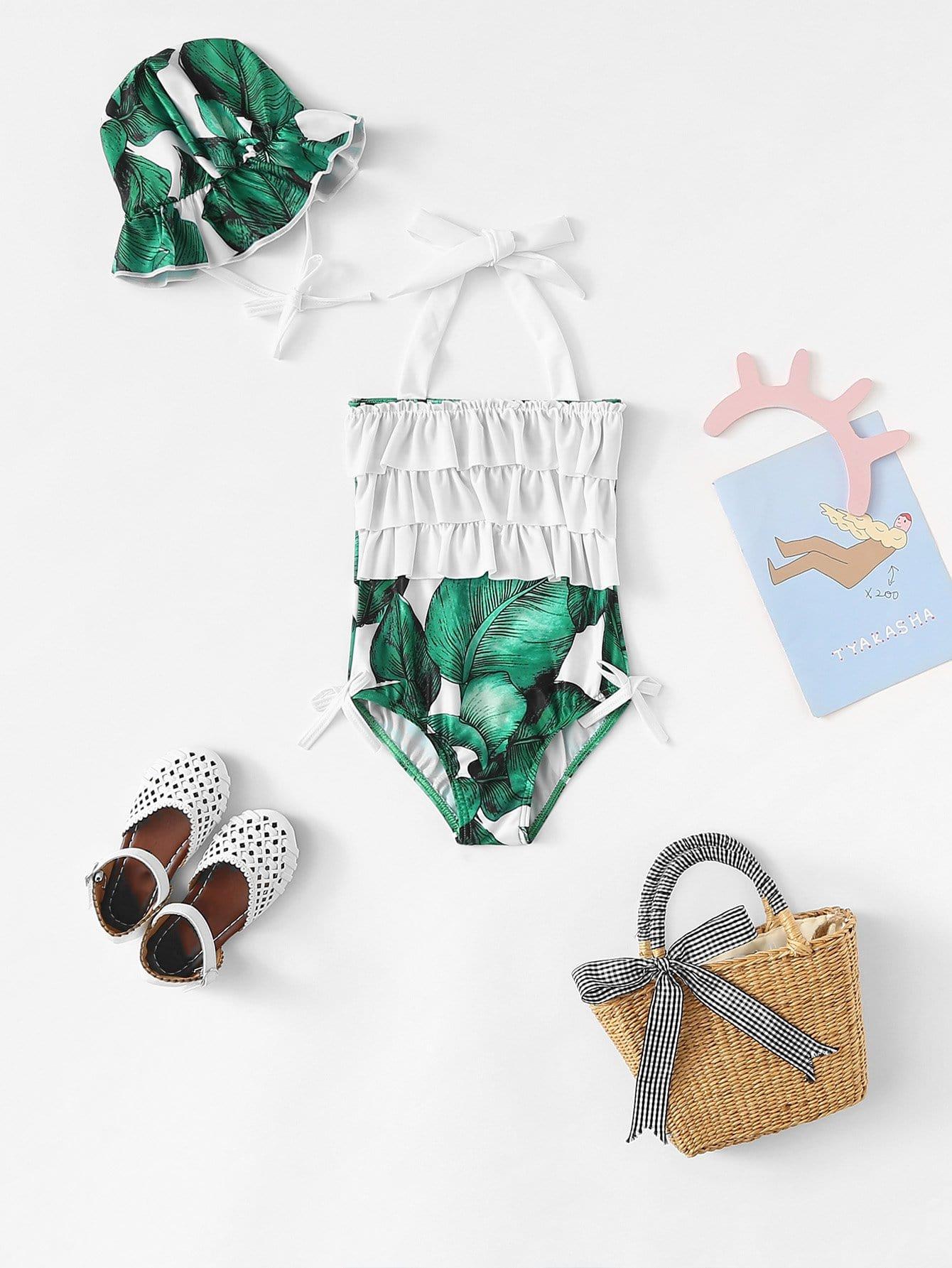 Kids Ruffle Trim Tropical Print Swimwear With Swimming cap