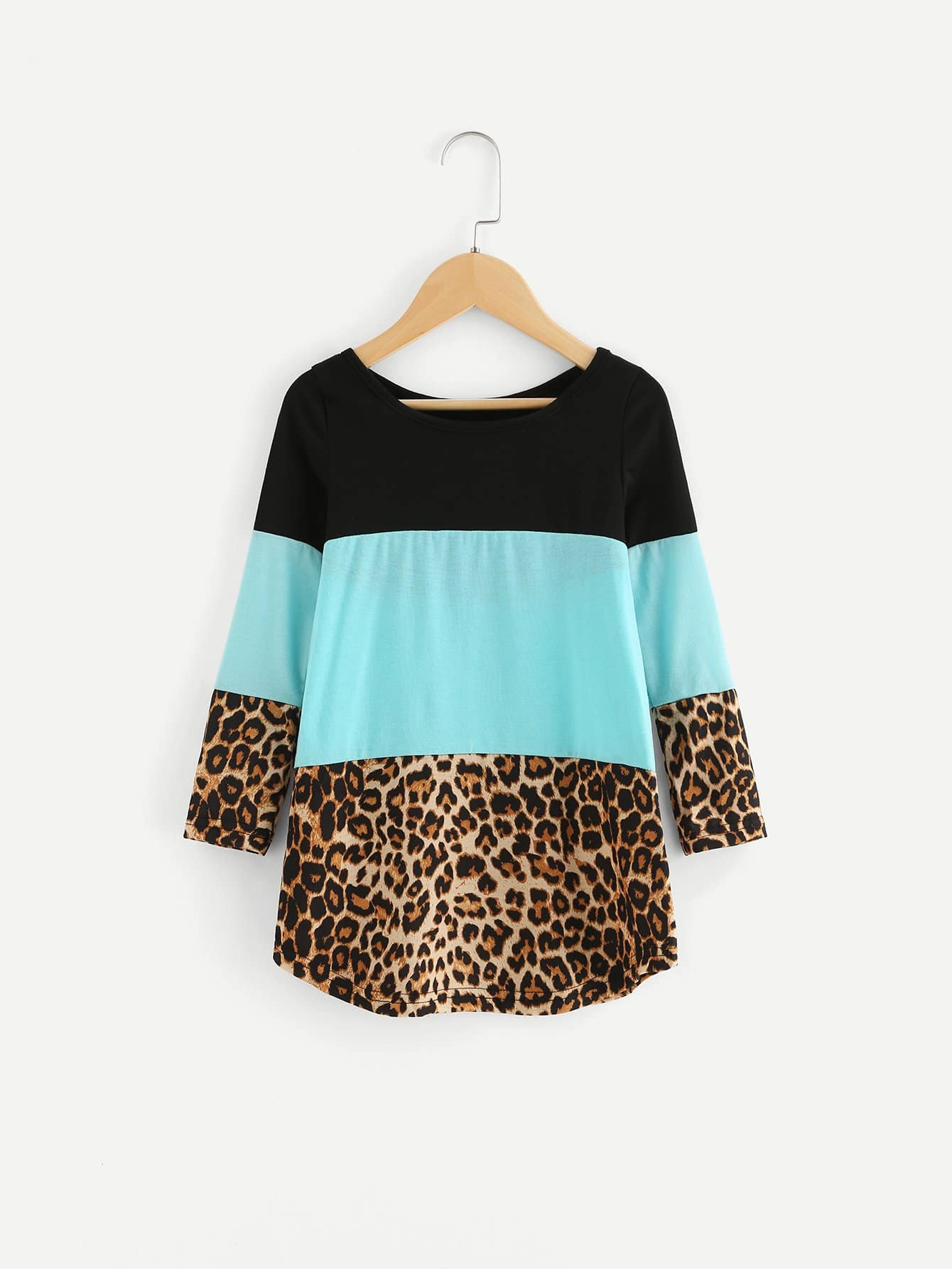 все цены на Girls Contrast Lace Leopard Panel Tee