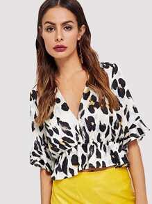 Leopard Print Ruffle Blouse