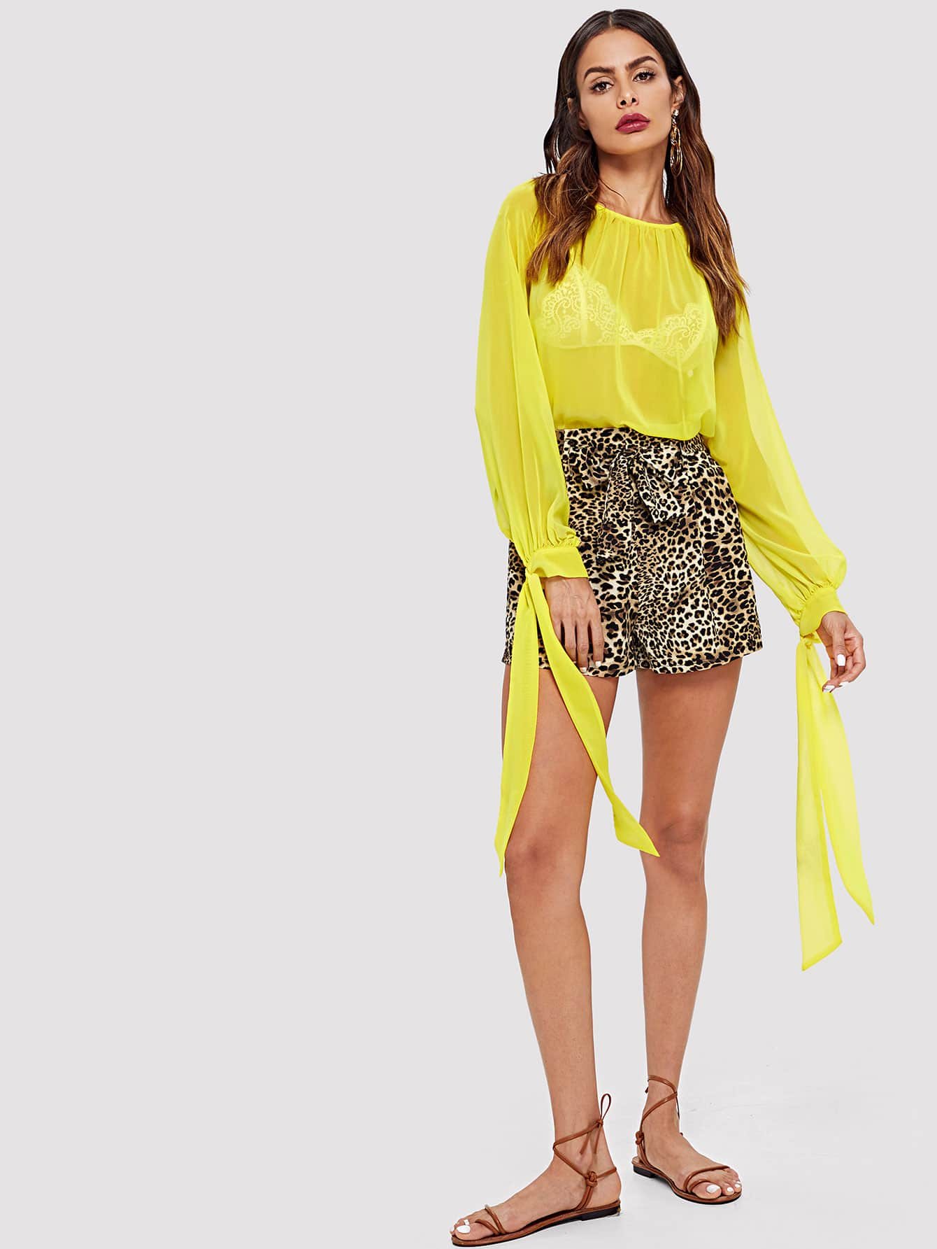 Knot Cuff Solid Pleated Blouse tiered pleated cuff solid top