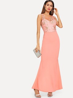 Sheer Lace Bodice Pencil Dress