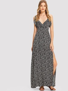 Ruffle Trim Calico Wrap Cami Dress
