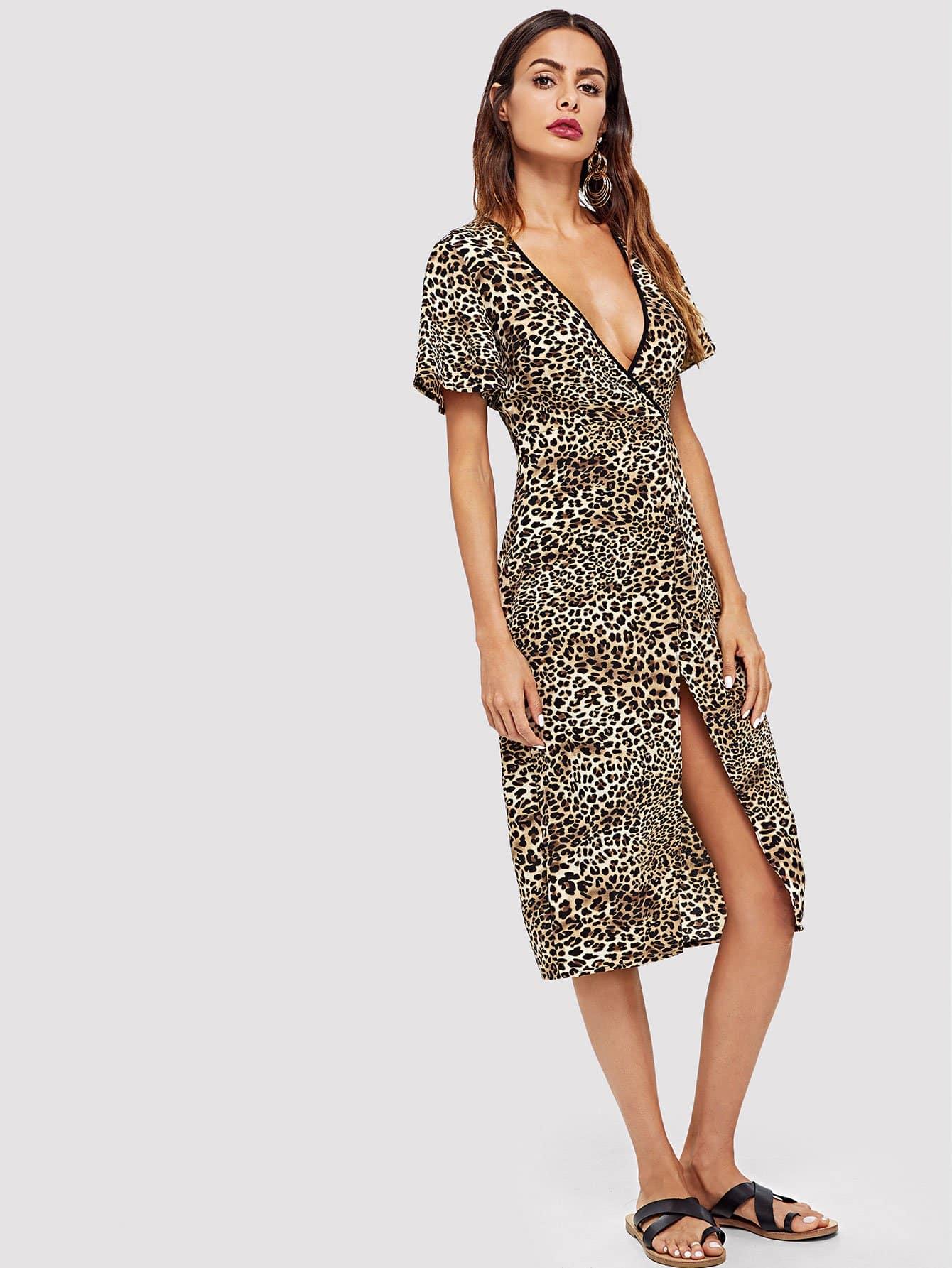 Контраст Tipping Leopard Print Wrap Dress