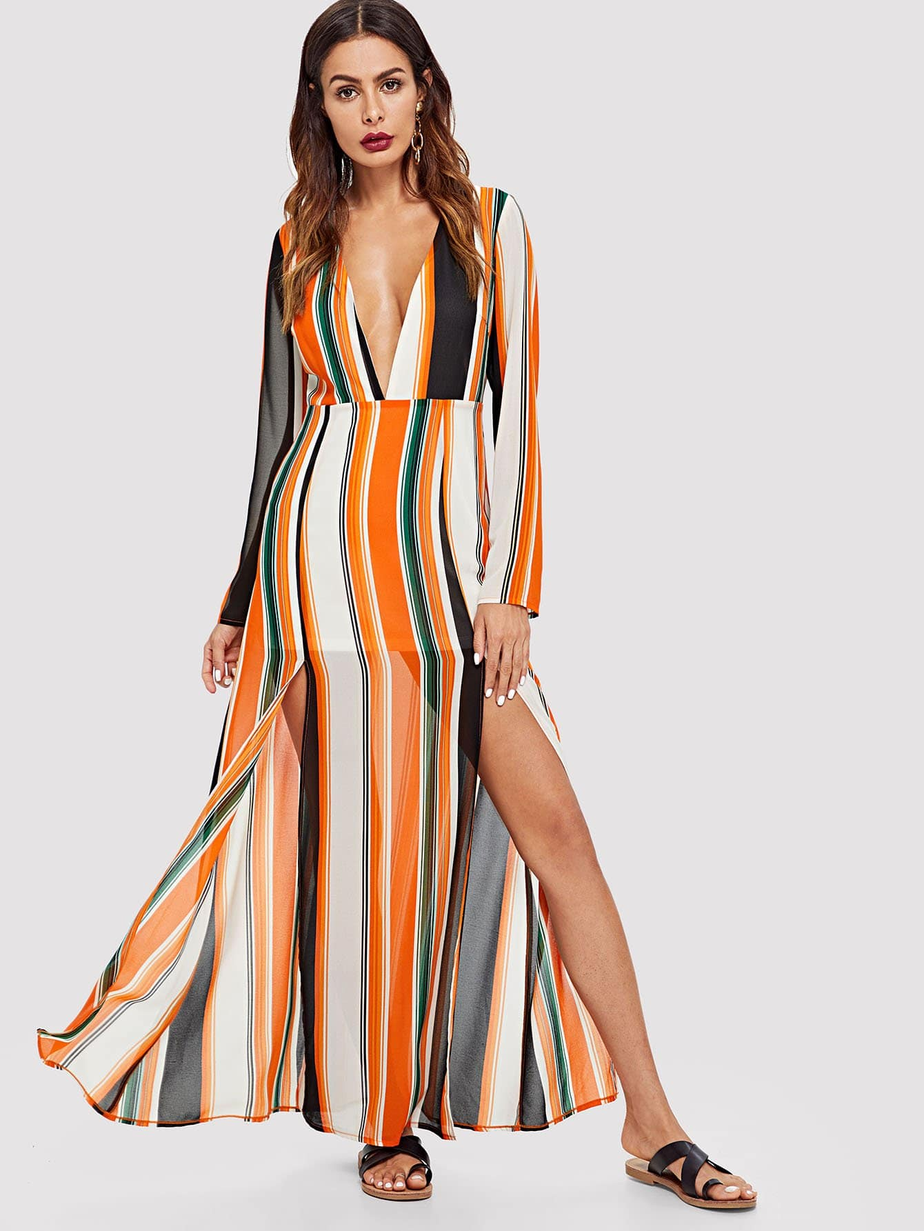 Plunging Neck Striped Dress plunging neck fit