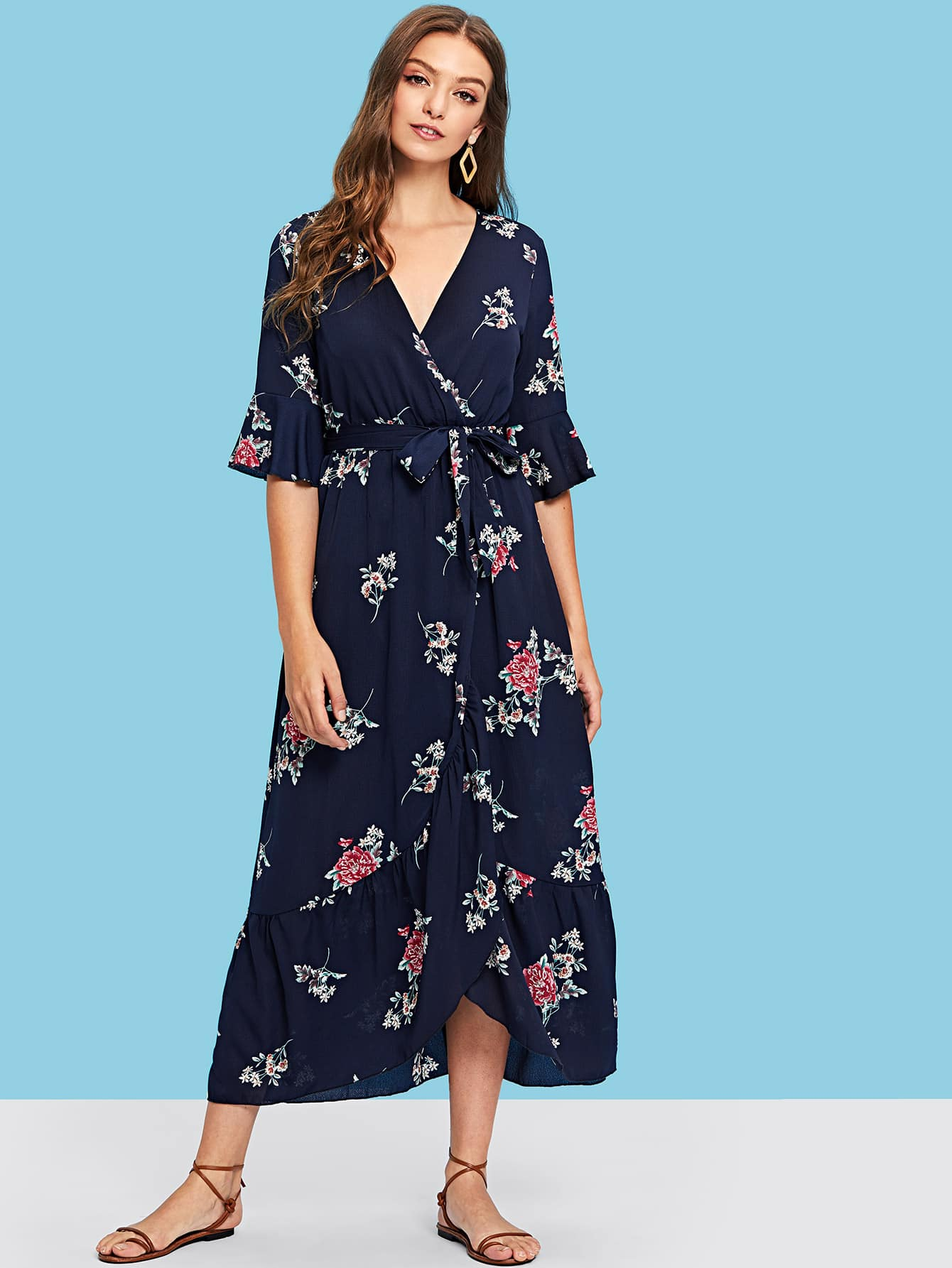 Plunging Neck Self Belted Floral Maxi Dress surplice neck self belted floral dress