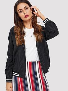 Stripe Trim Hoodie Jacket