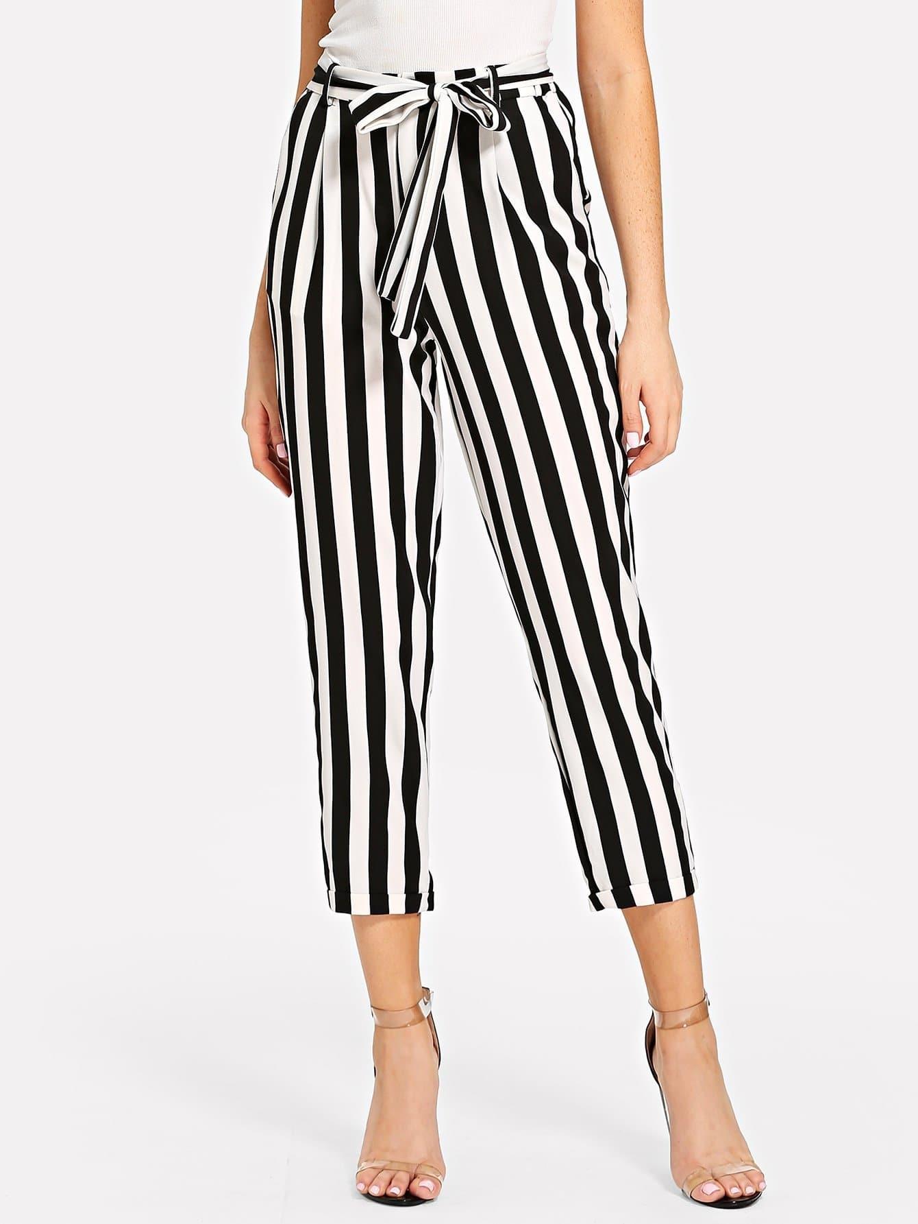 Cuffed Leg Striped Pants solid cuffed pants