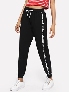 Letter Print Drawstring Sweatpants