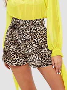 Self Belted Leopard Shorts