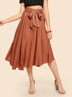 Boxed Pleated Wide Waistband Skirt