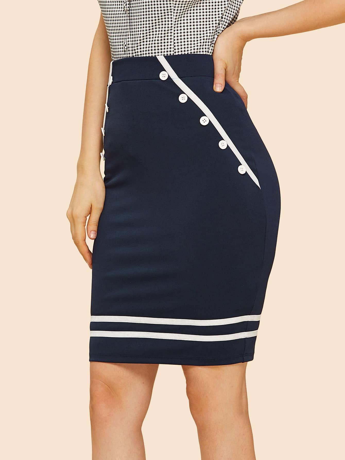 Купить Контрастная полосатая детальная юбка, Julie H., SheIn