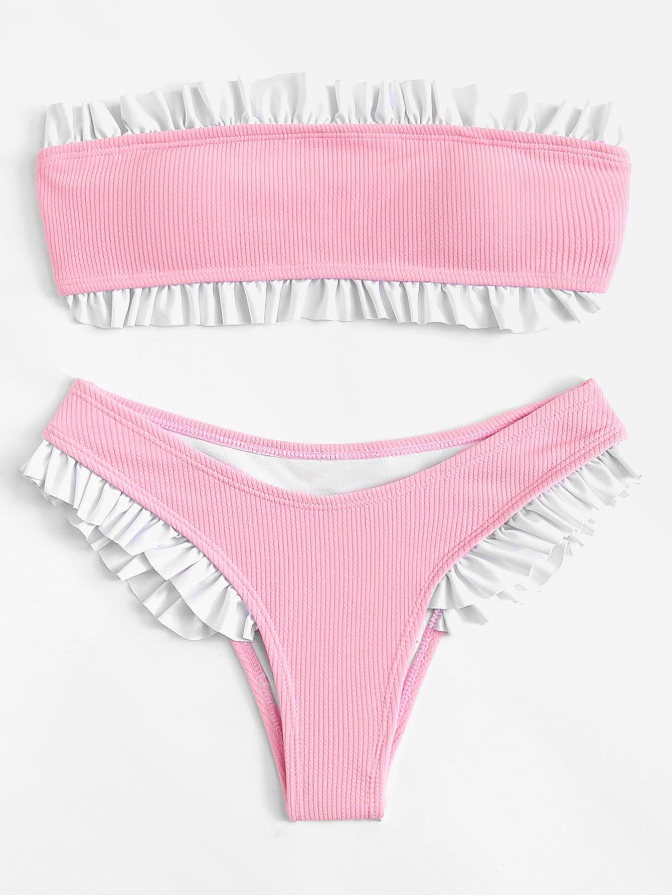 Ruffle Hem Bandeau Bikini Set