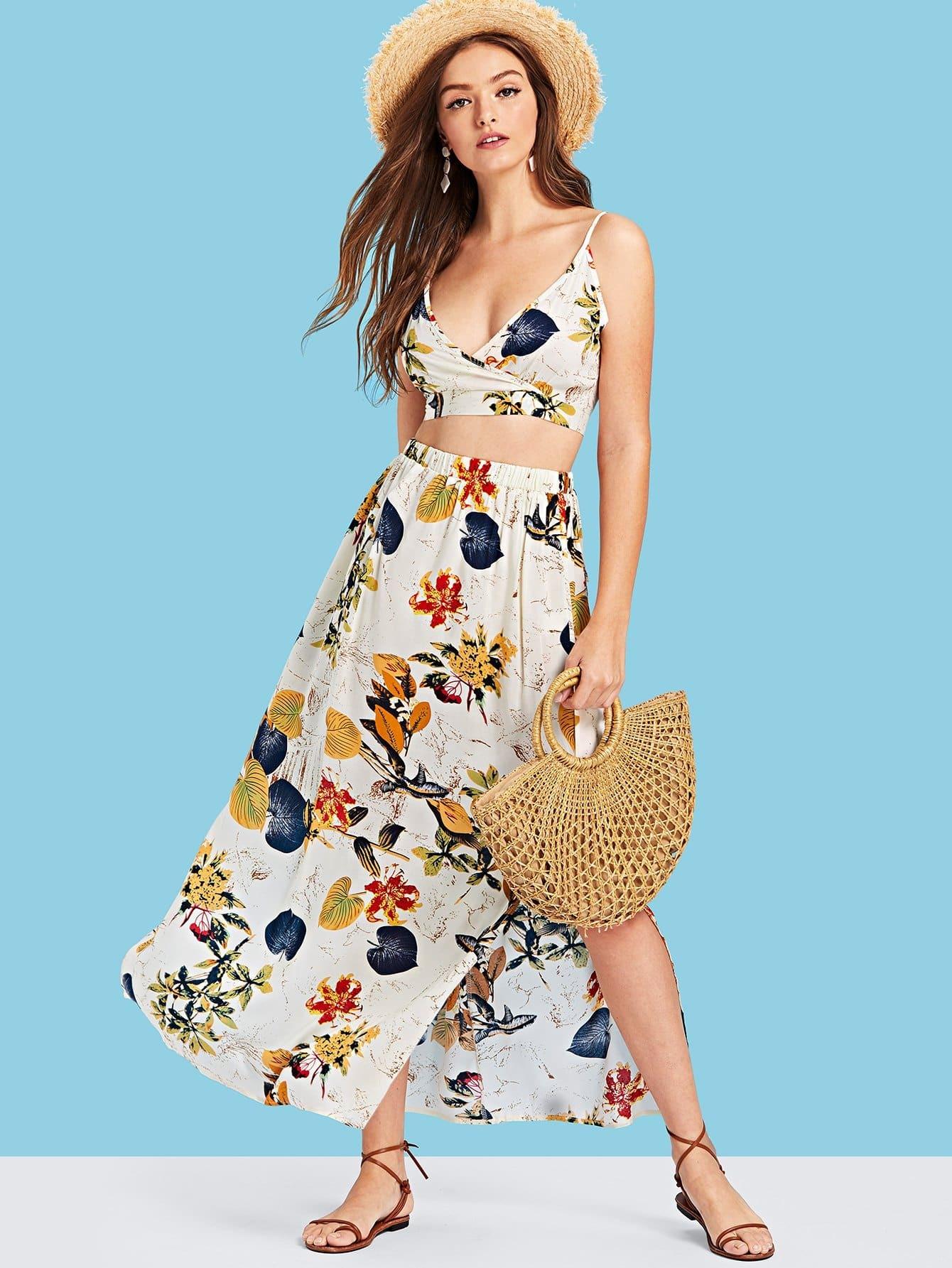 Botanical Print Surplice Wrap Crop Top and Skirt Set botanical print surplice wrap dress