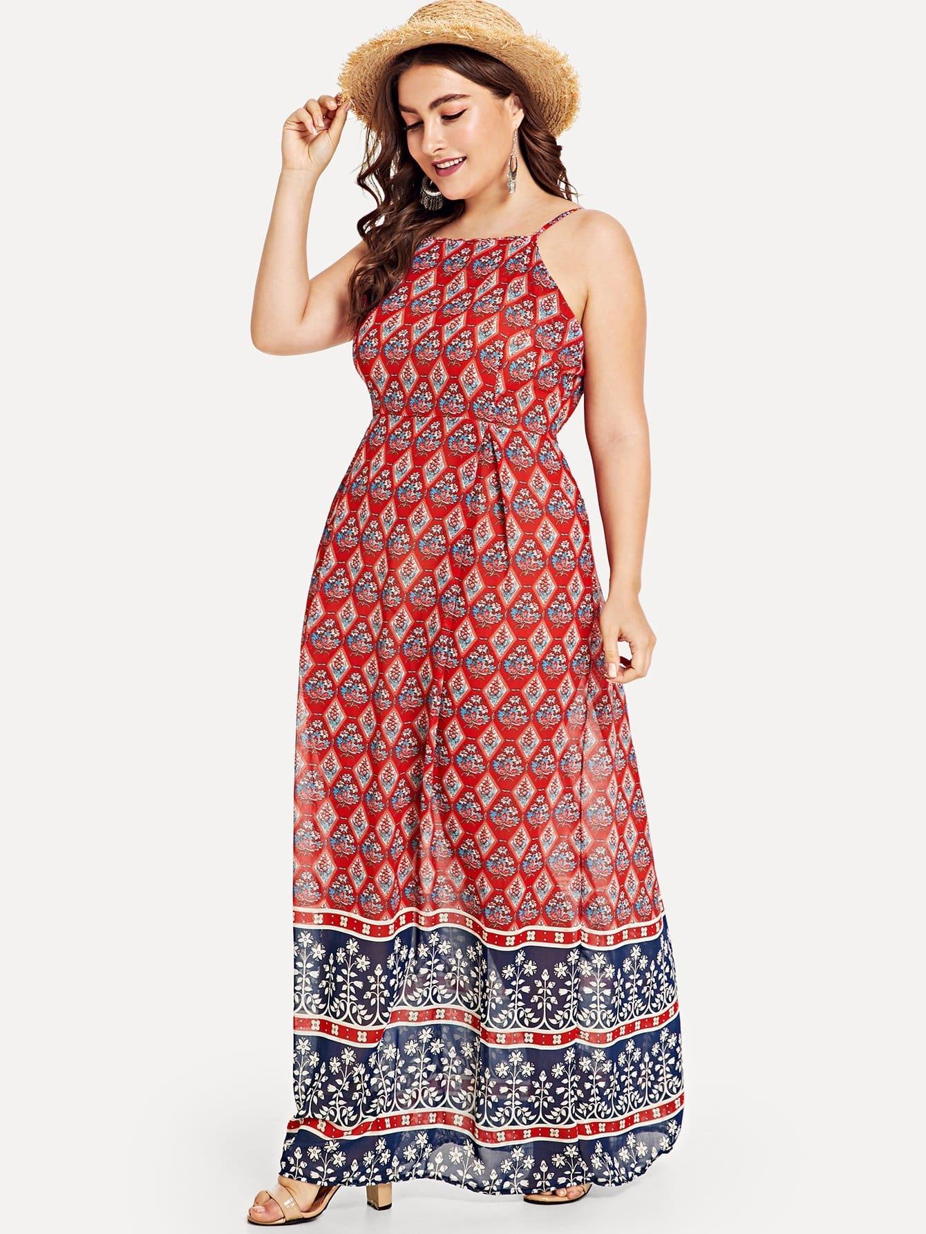 все цены на Plus Geo Print Maxi Cami Dress