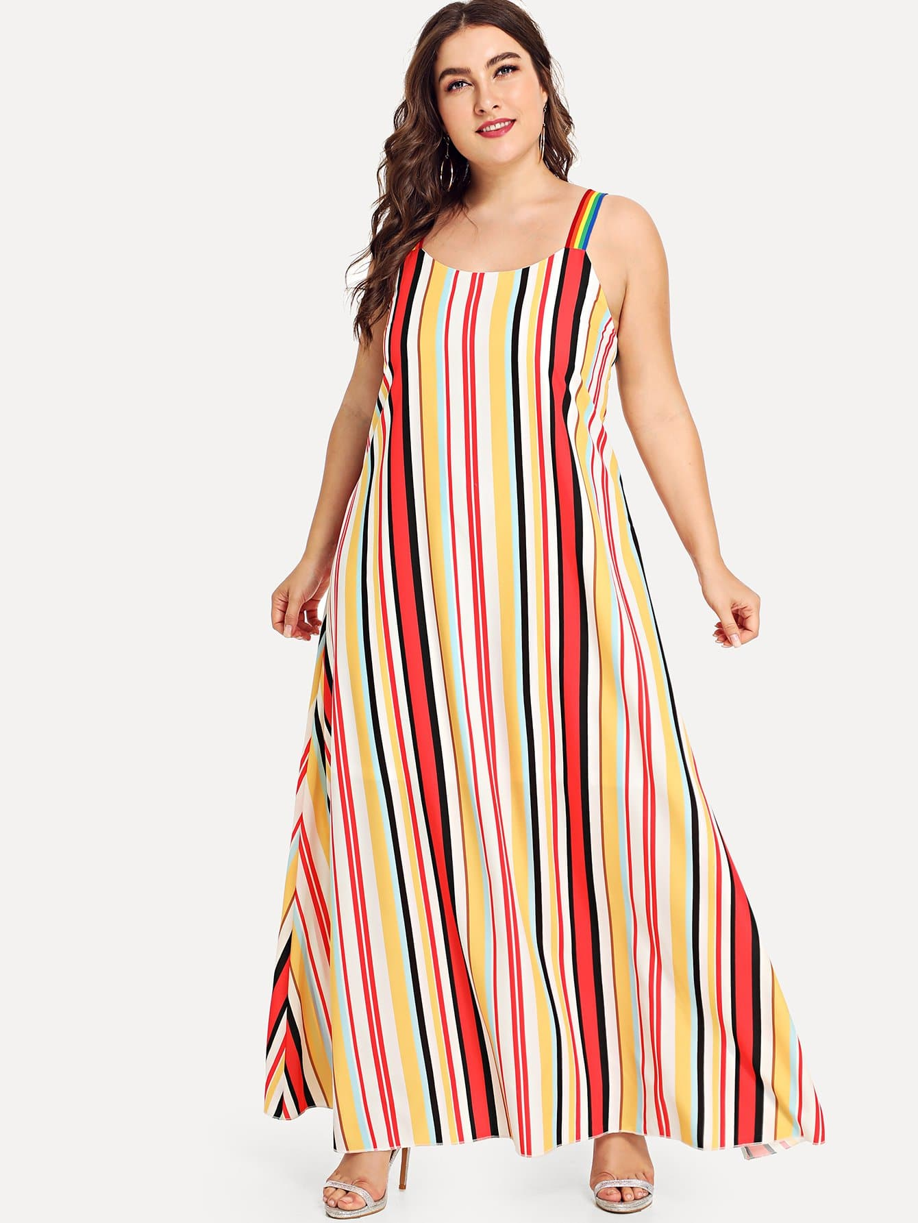 Plus Knot Back Striped Dress
