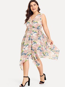 Plus Asymmetrical Hem Knot Side Floral Dress