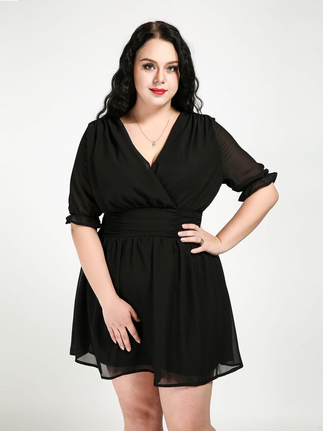 Plus Double V Neckline  Frill Trim Dress