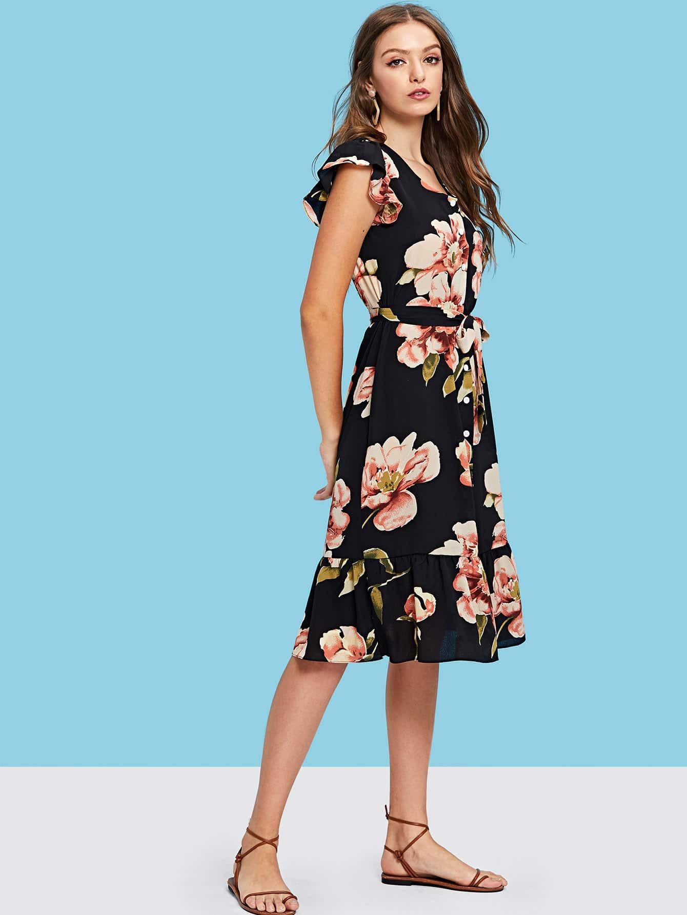 Self Tie Waist Floral Dress self tie floral