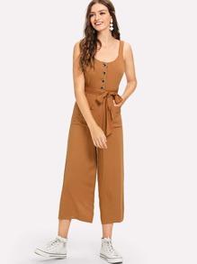 Single Breasted Self Tie Waist Jumpsuit
