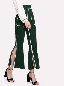 Contrast Trim Split Side Pants