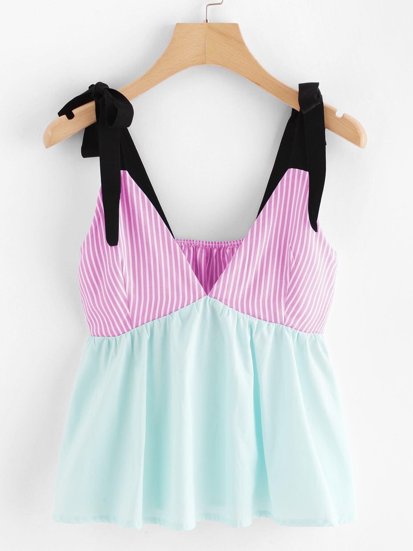 Купить Полосатый лоскут лука Tie Cami Top, null, SheIn