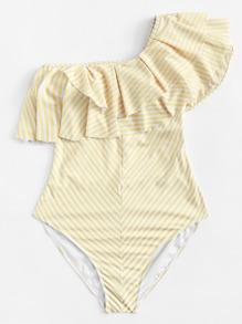 Plus One Shoulder Striped Flounce Swimsuit