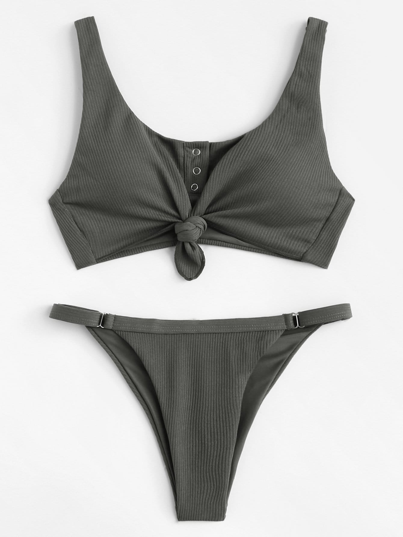 Knot Front Plain Bikini Set zipper front plain bikini set