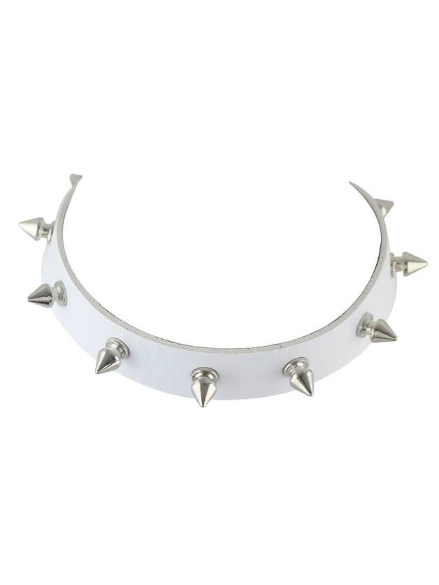 White Pu Leather With Spike Choker Necklace
