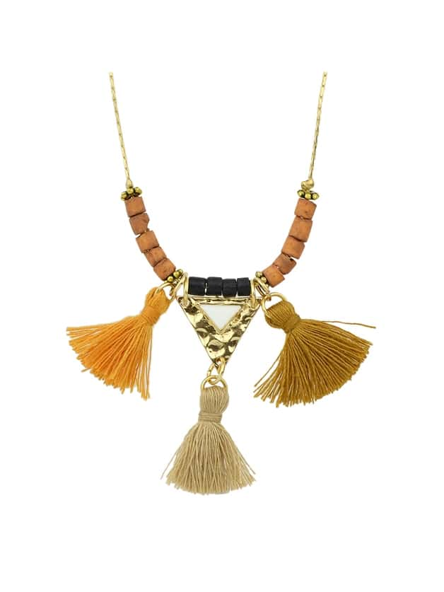 Ethnic Style Colorful Wooden Beads Tassel Pendant Necklace