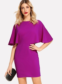 Open V Back Cape Sleeve Dress